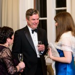 Sponsors of the dinner - Ian Graham (Colleton Chambers) talks to Lisa Lyons and Natasha Bellinger (Magdalen Chambers)